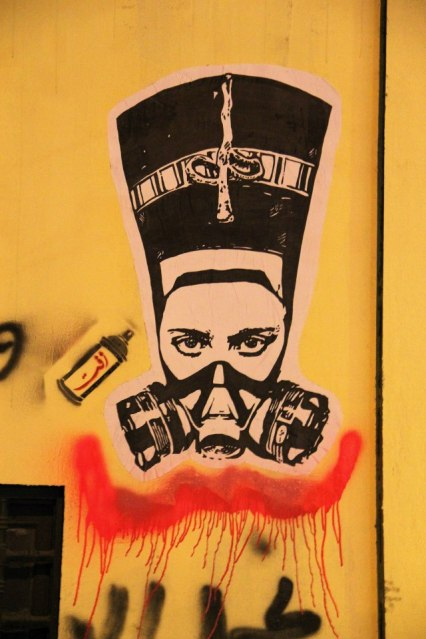 Nefertiti with a tear gas mask, stencil by Zeft. Photo courtesy of Zeft.
